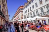 Lisbon, Portugal.- May 11: Traditional old buildings on May 11, 2014. Beautiful street view of histo