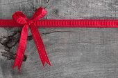Top View Of Ribbon Decoration On Wooden Background For Christmas Or A Birthday Present