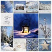Winter Collage With Snow, Forest - Winter Season - Snowy Trees And A Christmas Latern