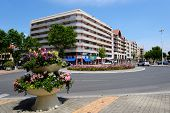 ARCACHON, FRANCE - JUNE 27, 2013: Flowers on the Boulevard du General Leclerc. Arcachon was found in 1857, and is known for the