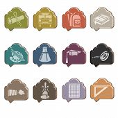 Back to school icons in the form of a glass cloud
