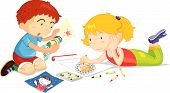 image of young women  - illustration of playing kids on a white background - JPG