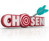 Chosen word in red 3d letters and an arrow in a bullseye or target choosing the lucky winner or pers