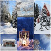 Winter Collage With Snow, Latern, Forest - Winter Season - Snowy Trees