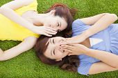 picture of tell lies  - two asian sisters whispering gossip on the grass - JPG