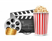 cinema clapper and video film tape and pop corn on disc vector illustration