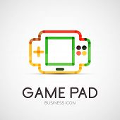 Vector gamepad company logo design, business symbol concept, minimal line style