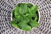 Brown round bowl of fresh mint leaves on a wooden stand