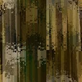 art abstract colorful pixels and striped seamless pattern; background in brown, green, olive and bei
