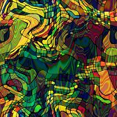 art abstract colorful chaotic waves seamless pattern in Klimt style; background in green, old gold,