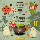 foto of halloween  - Happy Halloween Retro Color Card - JPG