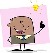 African American Businessman With A Bright Idea Character On Background