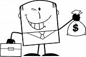 Black And White Winking Businessman Holding A Money Bag