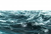 Digitally generated stormy blue sea on white background