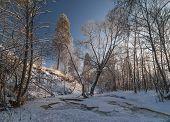Broken Ice Of Frozen River