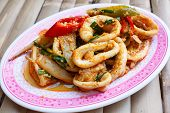 Fried Squid In Yellow Curry Powder.