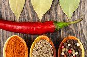 Spices In Spoons With Red Pepper