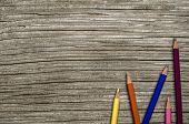 Wooden School Desk And Pencils