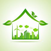 Ecology Concept - eco cityscape with home