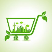 Ecology Concept - eco cityscape with shopping cart