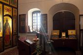 picture of church interior  - Sunbeam falling through the window in the ortodoxal church interior photo - JPG