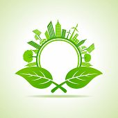 Ecology Concept - eco cityscape with leafs