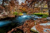 Beautiful Fall Foliage on the Rapids of the Guadalupe River, Texas.
