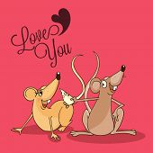 Happy Valentines Day celebration with cute male rat offering cheese to his beloved on pink background.