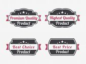 Set of four badges for premium quality, highest quality, best choice and best price product on white background.