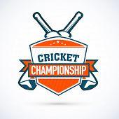 Cricket Championship sticker, tag or label design on shiny grey background.