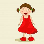 Cute character of a laughing small girl wearing beautiful red frock.