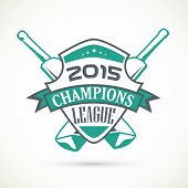 Sticker, tag or label design for Cricket Champions League 2015 on grey background.