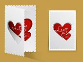 Beautiful greeting card design with red heart and stylish text Love You for Happy Valentines Day celebration.