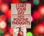 Start your Dat with Positive Thoughts card with colorful background with defocused lights