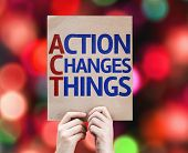 Action Changes Things card with colorful background with defocused lights