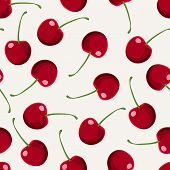 Seamless Pattern With Red Cherries