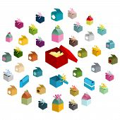 Collection Of Different Holiday Gift Boxes