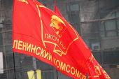 Flag Of Komsomol During Procession Of Communists
