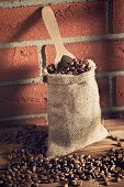 the coffee beans in sack