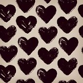 Endless hand drawn pattern with repeating hearts. Template for design textile, covers, wrapping pape