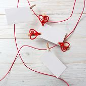 Blank Card For Text With Clothespins Hearts.symbol Of Love.
