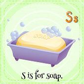 A letter S which stands for soap