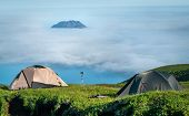 Fuss PeTourist tents in the  mountains, Paramushir Island,  Russ