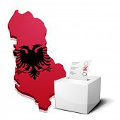 detailed illustration of a ballotbox in front of a map of Albania, eps10 vector