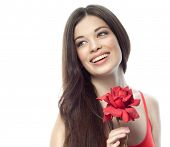 image of brunette hair  - closeup portrait of attractive  caucasian smiling woman brunette isolated on white studio shot lips toothy smile face hair head and shoulders red rose flower  - JPG