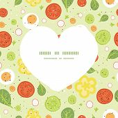 Vector fresh salad heart silhouette pattern frame