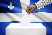 Voting Concept - Ballot Box With Canadian Province Flag On Background - Quebec