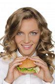 Beautiful Young Woman With Hamburger