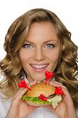 Beautiful Young Woman With Hamburger From Hearts