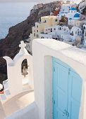 View Of The Village Oia With Blue Door.
